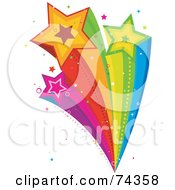 Royalty Free RF Clipart Illustration Of A Rainbow Shooting Star Burst With Sparkles