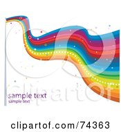 Royalty Free RF Clipart Illustration Of A Long Wavy Rainbow Flag With Sparkles And Sample Text On White