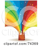 Royalty Free RF Clipart Illustration Of A Colorful Rainbow Burst And Stars Shooting Out Of A Brown Shopping Bag On White by BNP Design Studio