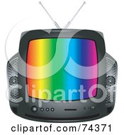 Royalty Free RF Clipart Illustration Of A Retro Black Box Television With Colorful Lines On The Screen by BNP Design Studio