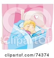 Royalty Free RF Clipart Illustration Of A Blond Baby Girl Sleeping In A Canopy Bed