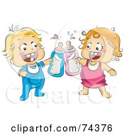 Two Happy Blond Babies Toasting With Bottles