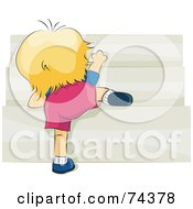Royalty Free RF Clipart Illustration Of A Blond Baby Crawling Up Stairs