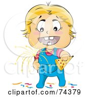 Royalty Free RF Clipart Illustration Of A Blond Baby Holding A Party Hat And Sparkler