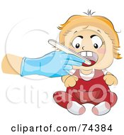 Royalty Free RF Clipart Illustration Of A Blond Baby Getting An Oral Check Up by BNP Design Studio