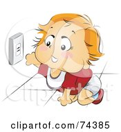 Royalty Free RF Clipart Illustration Of A Blond Baby Reaching For An Electrical Socket