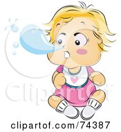 Royalty Free RF Clipart Illustration Of A Blond Baby Blowing A Snot Bubble Out Of Her Nose