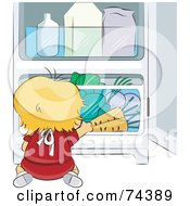 Royalty Free RF Clipart Illustration Of A Blond Baby Chef Reaching For Veggies In A Fridge by BNP Design Studio