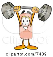 Clipart Picture Of A Bandaid Bandage Mascot Cartoon Character Lifting A Heavy Barbell by Toons4Biz