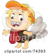 Royalty Free RF Clipart Illustration Of A Blond Baby In A Turkey Costume