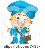 Royalty Free RF Clipart Illustration Of A Blond Baby Mail Man In Uniform by BNP Design Studio