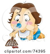 Royalty Free RF Clipart Illustration Of A Blond Baby Swatting At A Bug