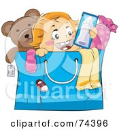 Royalty Free RF Clipart Illustration Of A Blond Baby Popping Out Of A Shopping Bag