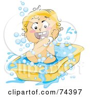 Royalty Free RF Clipart Illustration Of A Blond Baby Soaping Up In A Tub by BNP Design Studio