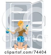 Royalty Free RF Clipart Illustration Of A Pretty Housewife Cleaning Out Her Refrigerator
