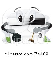 Royalty Free RF Clipart Illustration Of A Garage Door Character Cleaning by BNP Design Studio
