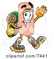 Clipart Picture Of A Bandaid Bandage Mascot Cartoon Character Hiking And Carrying A Backpack by Toons4Biz