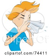 Royalty Free RF Clipart Illustration Of A Sick Man Sneezing Into A Tissue