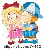 Royalty Free RF Clipart Illustration Of A Little Boy Kissing A Surprised Girl On The Cheek