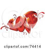 Royalty Free RF Clipart Illustration Of A Red 3d Love Word With Vines by BNP Design Studio