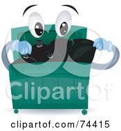 Royalty Free RF Clipart Illustration Of A Dumpster Character Loading Garbage Bags