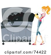 Royalty Free RF Clipart Illustration Of A Pretty Housewife Putting Trash In A Dumpster