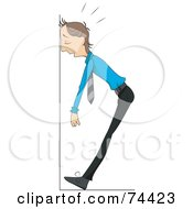 Royalty Free RF Clipart Illustration Of A Sick Or Stressed Man Collapsing Against A Wall