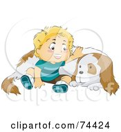 Royalty Free RF Clipart Illustration Of A Blond Baby Boy Sitting By And Petting His Dog