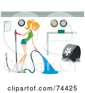 Royalty Free RF Clipart Illustration Of A Pretty Housewife Spraying Out A Garage
