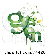 Royalty Free RF Clipart Illustration Of A Green Word Vine With Yellow Flowers And A Butterfly by BNP Design Studio