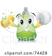 Royalty Free RF Clipart Illustration Of A Dish Soap Character With A Sponge And Plate by BNP Design Studio