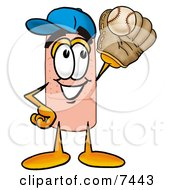 Clipart Picture Of A Bandaid Bandage Mascot Cartoon Character Catching A Baseball With A Glove by Toons4Biz