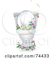 Royalty Free RF Clipart Illustration Of A Clean Porcelain Toilet Bowl With Flowers by BNP Design Studio