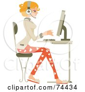Royalty Free RF Clipart Illustration Of A Professional Woman Working On A Computer by BNP Design Studio