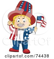 Blond Baby Waving A Flag And Wearing An American Suit