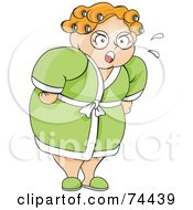 Royalty Free RF Clipart Illustration Of A Pleasantly Plump Nagging Wife Or Mother Woman In Curlers And A Robe