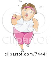 Royalty Free RF Clipart Illustration Of A Pleasantly Plump Woman Sweating And Jogging