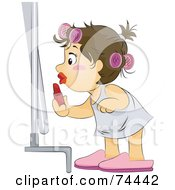Royalty Free RF Clipart Illustration Of A Brunette Baby Girl Putting On Lipstick