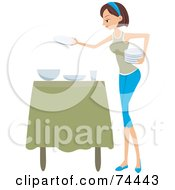 Royalty Free RF Clipart Illustration Of A Pretty Housewife Setting The Table