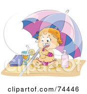 Royalty Free RF Clipart Illustration Of A Blond Baby Girl In A Bikini Applying Sun Block On A Beach