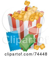 Royalty Free RF Clipart Illustration Of A Container Of Buttered Popcorn And Two Movie Tickets