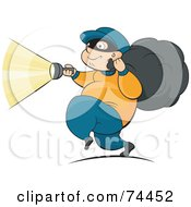 Royalty Free RF Clipart Illustration Of A Fat Robber Running With A Flashlight And Bag
