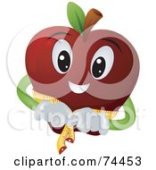 Royalty Free RF Clipart Illustration Of A Red Apple Character Measuring Itself