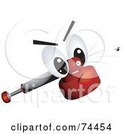 Royalty Free RF Clipart Illustration Of An Insect Spray Character Squirting At A Fly