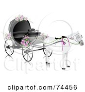 Royalty Free RF Clipart Illustration Of A White Horse Pulling A Wedding Carriage With Pink Flowers