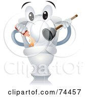Royalty Free RF Clipart Illustration Of A Toilet Character Holding Cleanser And A Plunger