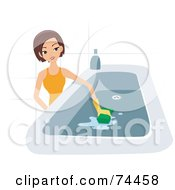Royalty Free RF Clipart Illustration Of A Pretty Housewife Scrubbing A Tub