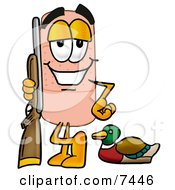 Bandaid Bandage Mascot Cartoon Character Duck Hunting Standing With A Rifle And Duck