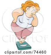 Royalty Free RF Clipart Illustration Of A Pleasantly Plump Woman Standing On A Scale With A Nervous Expression