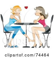 Royalty Free RF Clipart Illustration Of An Attractive Lesbian Couple Playing Footsie And Gazing At Each Other In A Cafe